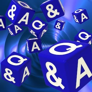 QandA Dice Background Shows Assistance