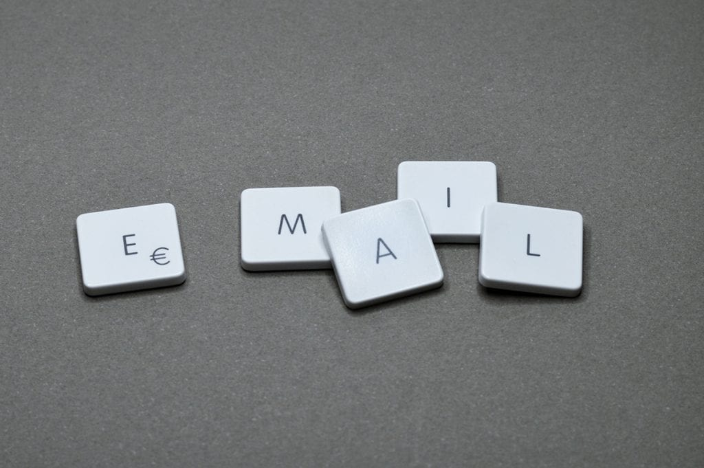 """Tiles that spell out the word, """"email"""" as to start the phrase """"email follow-up sequence"""""""